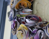 """14"""" rolled rose wreath - paper roses upcycled from magazine pages"""