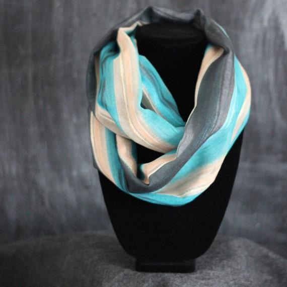 Infinity Scarf - Teal & Beige Stripe  - by HelloMrsBrown