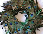 "57 dollar 18"" summer peacock feather wreath ( removable ribbon)  large amount of feathers...."