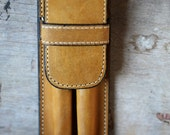 Leather Gold Double Pen Case