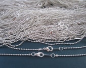 Sale 100pcs  1.5mm  17inch Plated Silver  ball necklace chain with Lobster Clasp