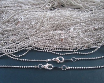 Sale 100pcs  1.5mm  19inch Silver color ball necklace chain with Lobster Clasp