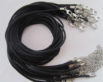 100pcs 17-19 inch adjustable 2mm black satin necklace cord with lobster clasp