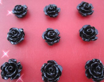 20pcs black  color Resin Flowers Rose 10mm