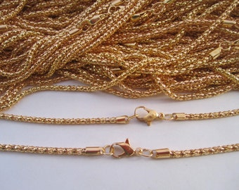 10pcs 2.0mm 17 inch Plated gold  Ball chain with clasp Lobster