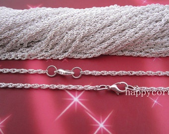 100pcs  3mm Silver color Spiral Link  chain with Lobster clasp 22inch