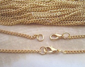 60pcs  3mm gold color necklace chain with lobster clasp 60cm