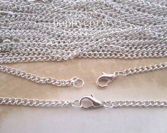 10pcs 70cm silver color necklace pendant chain 3mmx4mm