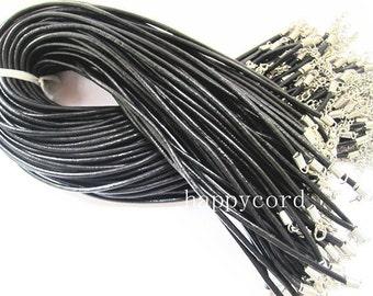 15pcs 17-19inch 3.0 adjustable Black  Genuine leather  necklace cord