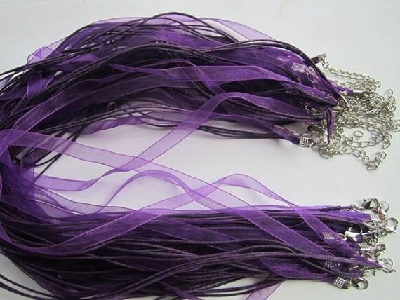 Sale 15pcs 17-19inch  dark  purple ribbon necklace cord