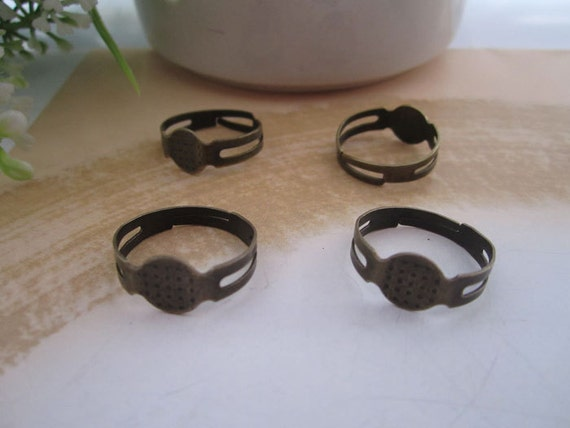 50 pcs antique bronze plated 8 mm adjustable ring bases