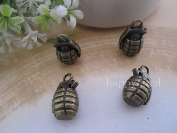 6pcs of Antique Bronze Grenades  Charms 13mmx22mm