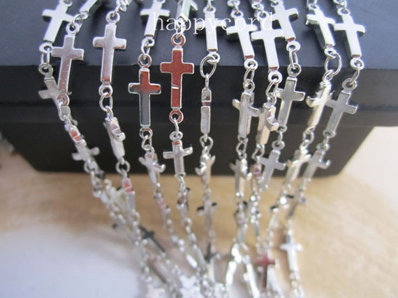 2m (6.5feet)5x13mm Silver plated  cross shape chains