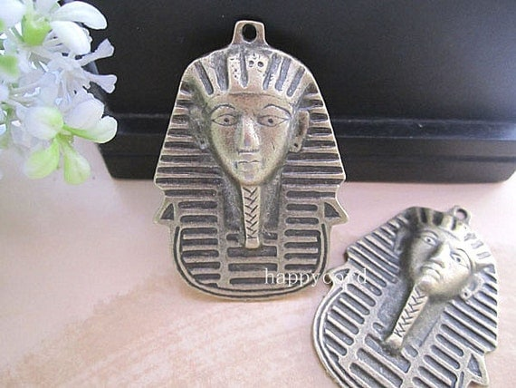 6pcs of Antique bronze Egypt king charm 35mmx50mm