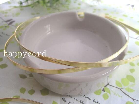 10 Pcs plated Gold metal Headbands Bent Ends 3mm