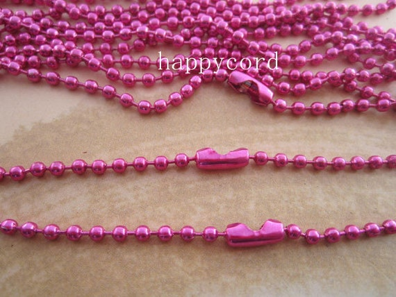 15pcs  2.4mm  27inch Hot Pink ball necklace chain with matching connector