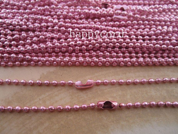 15pcs  2.4mm  27inch Pink ball necklace chain with matching connector