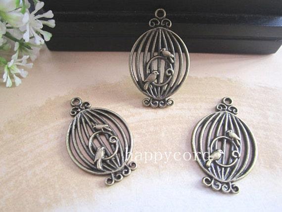 10pcs of Antique bronze birdcage Pendant charm 21mmx34mm  RS015