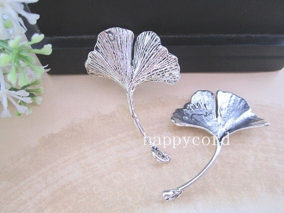 4pcs Antique Silver leaves Charms pendant  32mmx42mm  RF012