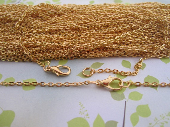 """10pcs  2mm 17inch  Plated Gold """" 0"""" shape Link  chain"""