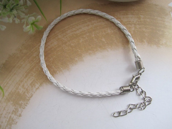 15pcs 3mm 7inches--9inches white color faux braided leather with Lobster clasp bracelet