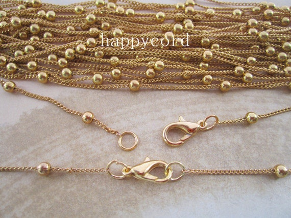 10pcs 70cm 3.50mm Plated Gold bright  bead chain with lobster clasp