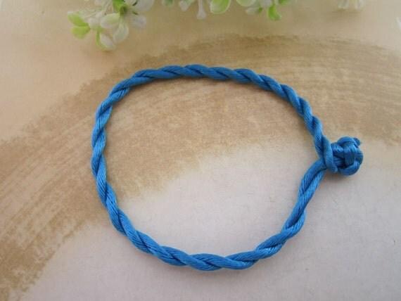20pcs 3mm 8inches bule  satin bracelet