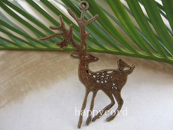 4pcs of  Antique Bronze Sika deer pendant charm 32mmx60mm