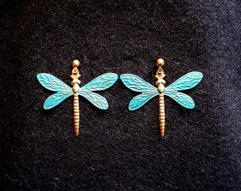 Dragonfly Earrings.Large. Turquoise.