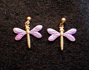 Dragonfly Earrings Medium. Purple.