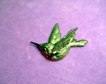 Hummingbird Pin. Ruby Throated Hummer