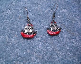 Buccaneer Appropriate Pirate Ship  Earrings