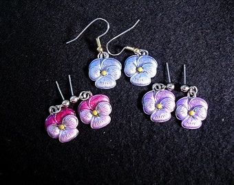 Pretty Pansy Earrings. Hand Painted Metal. Choice of 3 Colors.
