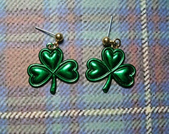 Large St. Paddy's Day Shamrock  Earrings. Hand Painted.Light weight