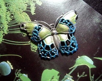 Hand Painted Teal and Lime Butterfly  Pin.