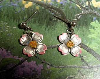 A Breath of Spring.  Small Dogwood Earrings. Hand Painted.