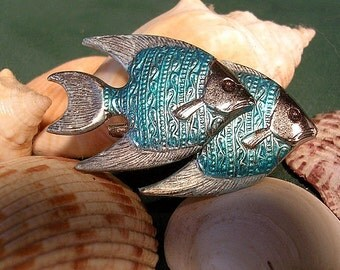 Double Aqua Angel Fish Pin. Hand Painted.