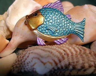 Turquoise and Purple  Fish Pin. Hand Painted.