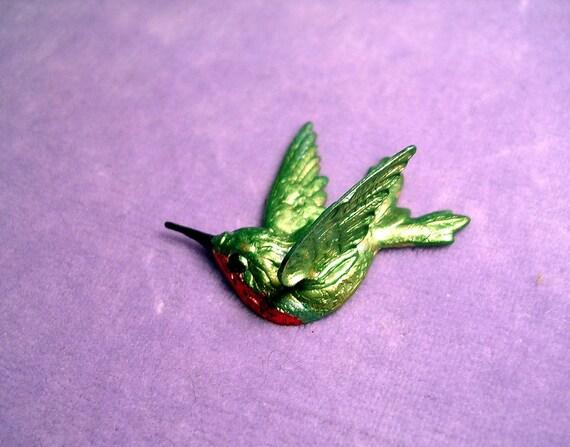 Hummingbird Pin. Ruby Throated Hummer