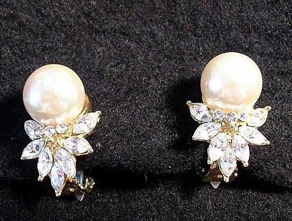 Vintage  Earrings. Large Pearl and Clear   Rhinestones .