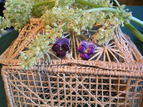 Dainty Purple Johnny Jump Up Earrings/Hypoallergenic