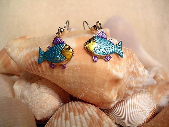 Turquoise and Purple  Fish Earrings. Hand Painted.