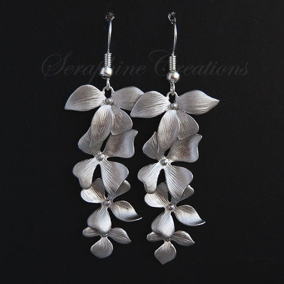 White gold plated orchid flower earrings