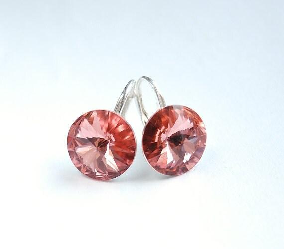 Lovely Swarovski Rivoli crystal earrings with leverback earwires