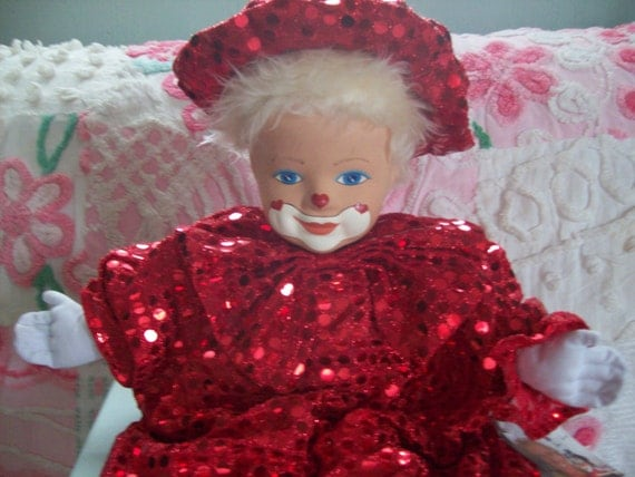 Mardi Gras collectible: Harelequin style, german-designed Tati Bremen red sequinned clown faced doll