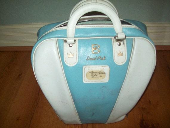 Fabulous Vintage Ladies Bowling Bag, Ball and Shoes 1950'S Brunswick Powder Blue/White