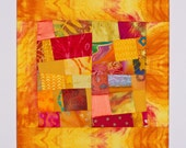 SALE/Yellow Red Art Quilt Matted for Framing, Artist Signed: SQUARE STAR