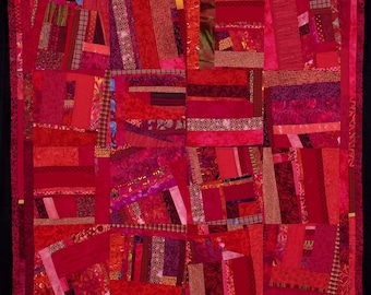 Fine Art Contemporary Original Quilt, Vibrant and Bold/FREE SHIPPING