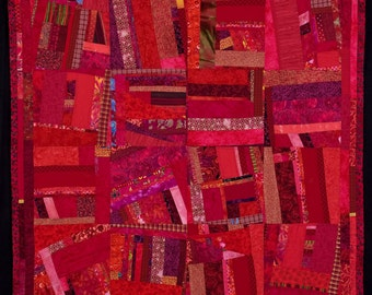 INFERNO: A Fine Art Contemporary Original Quilt, Vibrant and Bold/FREE SHIPPING