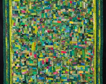 IN THE LIMELIGHT: Green Fine Art Contemporary Quilt//Large Stairwell Wall Hanging//Wall Quilt